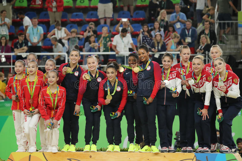 Women's team all-around gymnastics winners at Rio 2016 Olympic Games team China (L), team USA and team Russia royalty free stock photography