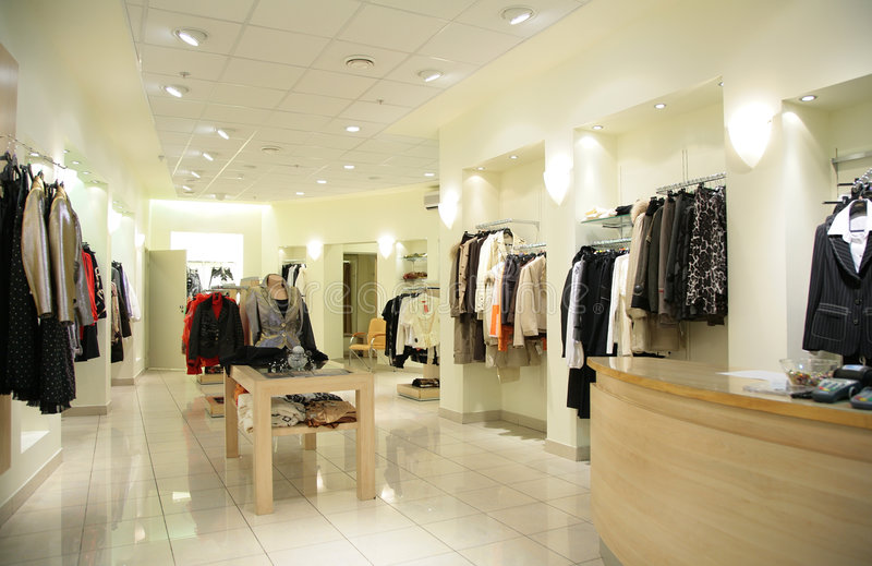 Women`s upper clothes in shop stock image