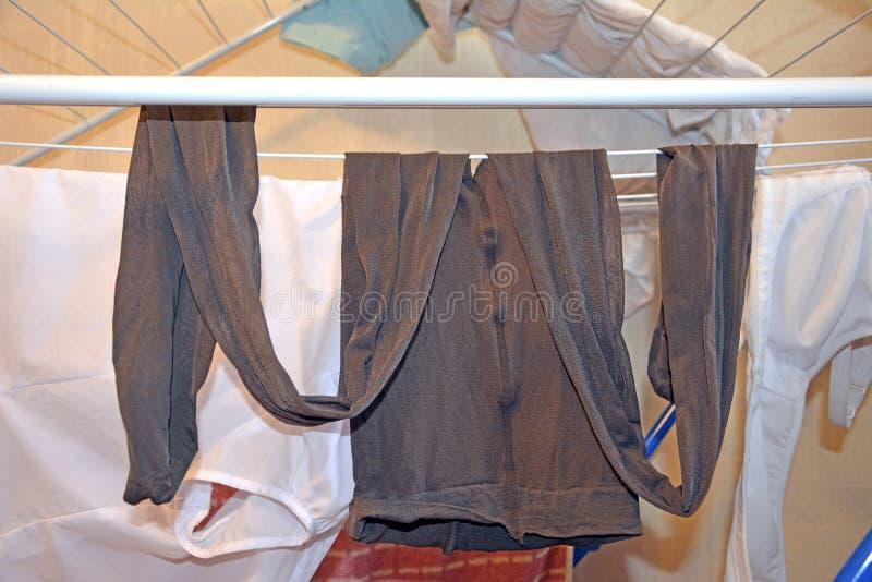 Women`s used nylon pantyhose after washing. fetish. royalty free stock photography