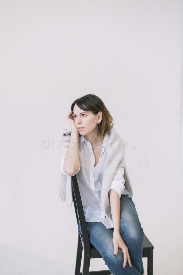 Women's White Button-up Shirt stock image