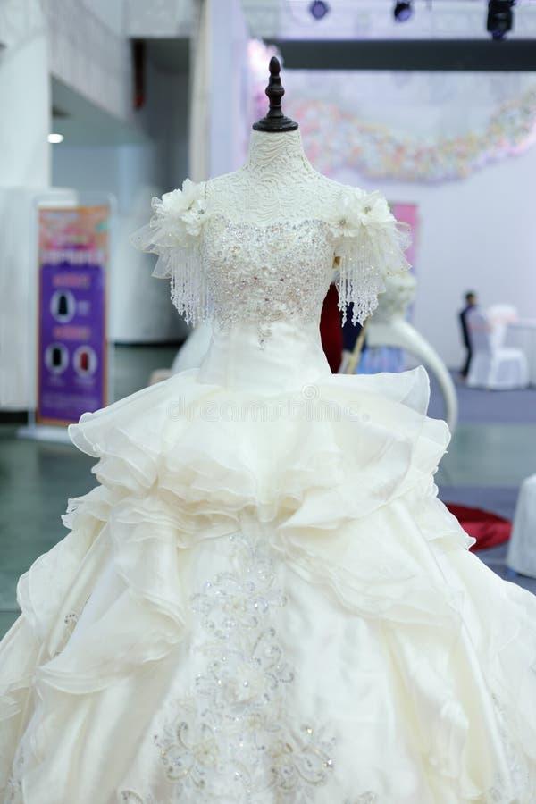 Women`s white wedding dress, adobe rgb. Ladies piece dress in the shop, xiamen city, china royalty free stock photo