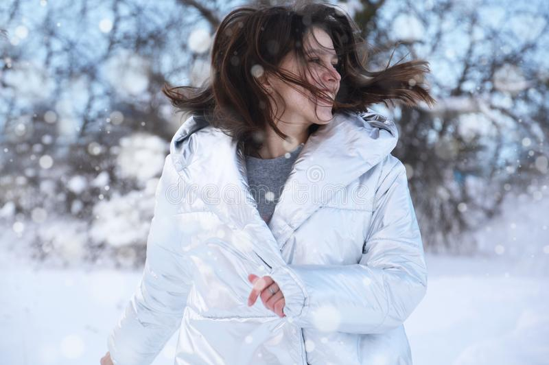 Women's White Winter Coat stock photography