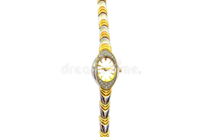 Women`s wrist watches with a bracelet on a white background. View from above. royalty free stock photo