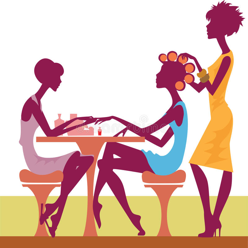 Women in a salon getting a hairstyle and manicure royalty free illustration