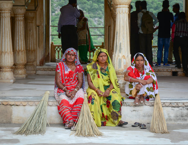 Women in the sarees at the Amber Fort in Jaipur, India stock images