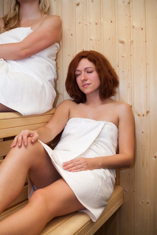 Women in sauna royalty free stock photos