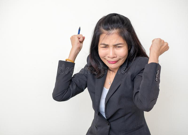 Women are screaming furiously and madly. Middle-aged woman are screaming furiously and madly in her job royalty free stock images
