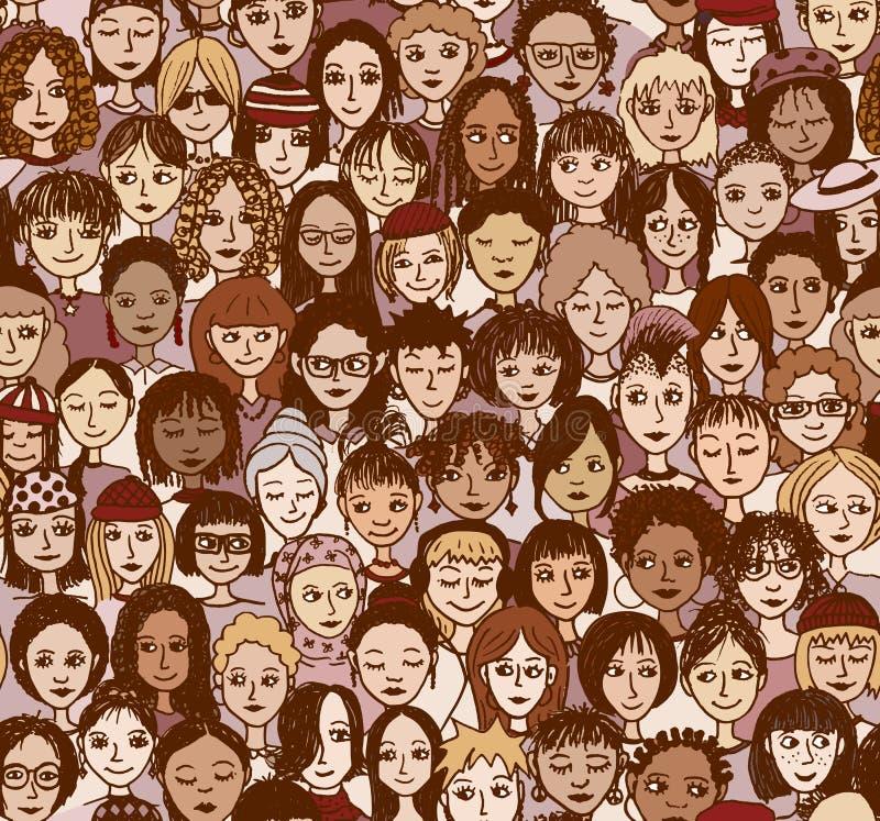 Women - seamless pattern vector illustration