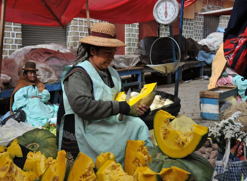 Women selling on the street of La Paz. stock photo