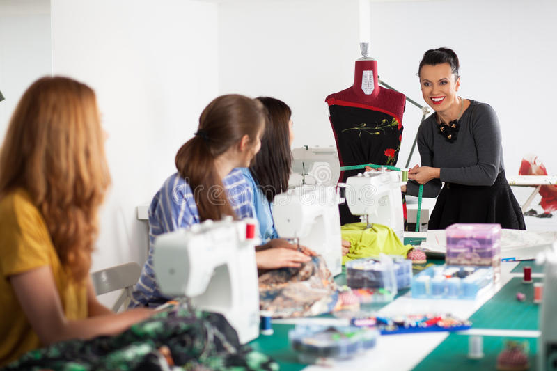 Women in a sewing workshop royalty free stock photography
