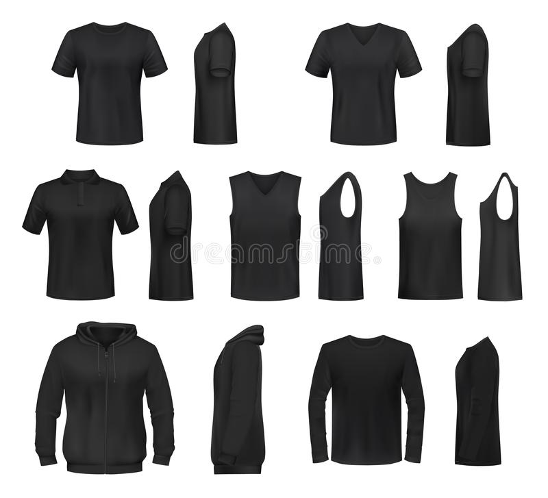 Women black shirt, polo, sweatshirt and tank top vector illustration