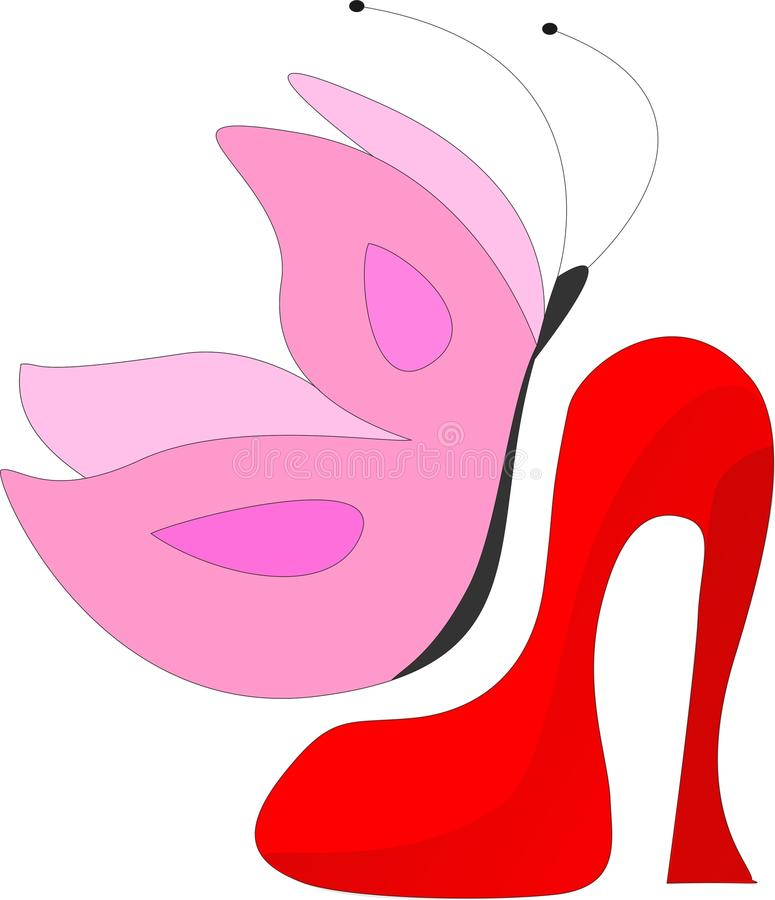Women shoes with butterfly royalty free stock photos