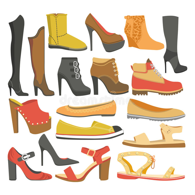 Women shoes or female footwear boots types vector flat isolated icons set. Women shoes types of female footwear icons of casual business clogs, sport sneakers vector illustration