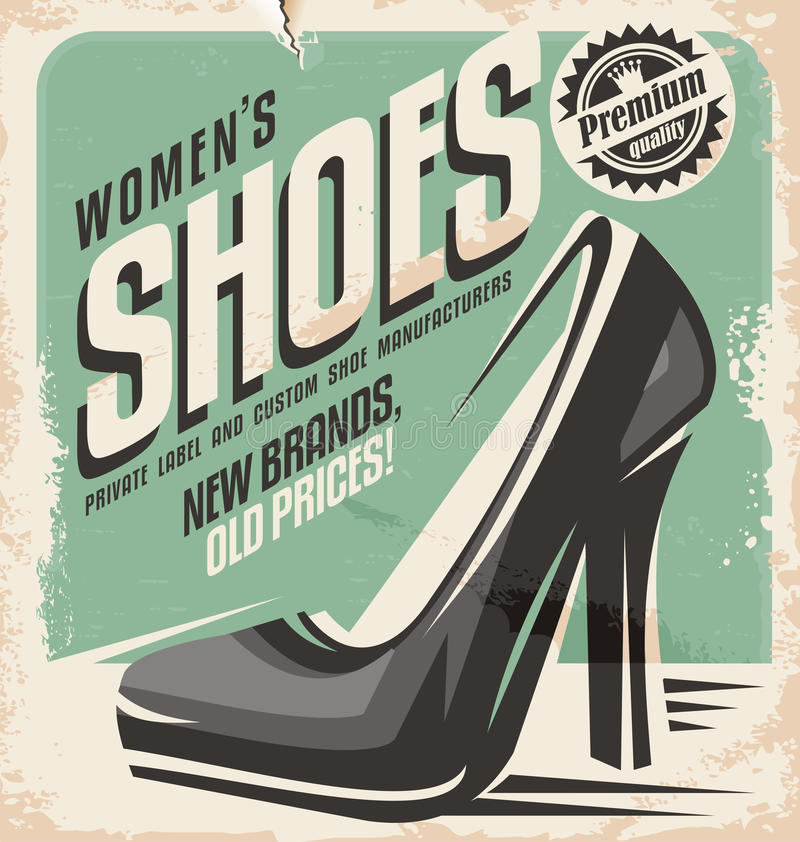 Women shoes flyer design concept royalty free illustration