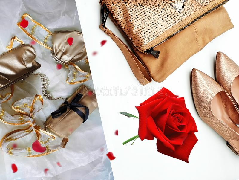 Women shoes and handbag gold stylish elegant luxury accessories roses flowers still life shop girl clothes. Red white gold busines sale stock image