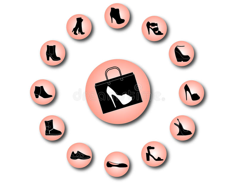Women Shoes Icons Royalty Free Stock Photos