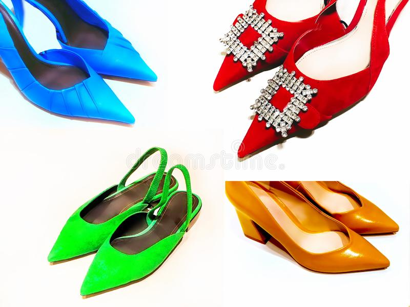 Women shoes trend blue red yellow green color leather stylish luxury clothes Autumn summer. Women clothes accessories fashion trends handbag shoes gloves red royalty free stock image