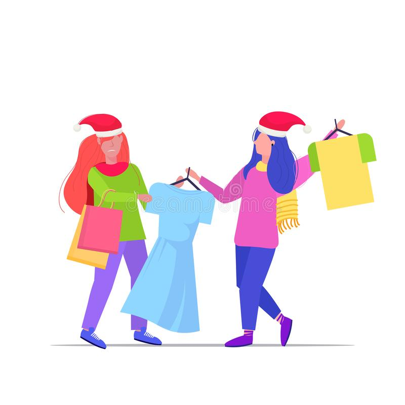 Women shoppers in santa hats fighting for last dress customers couple on seasonal shopping sale fight concept full royalty free illustration