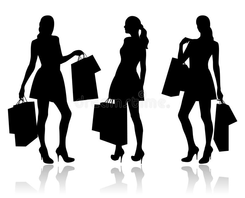 Women with shopping bags stock illustration