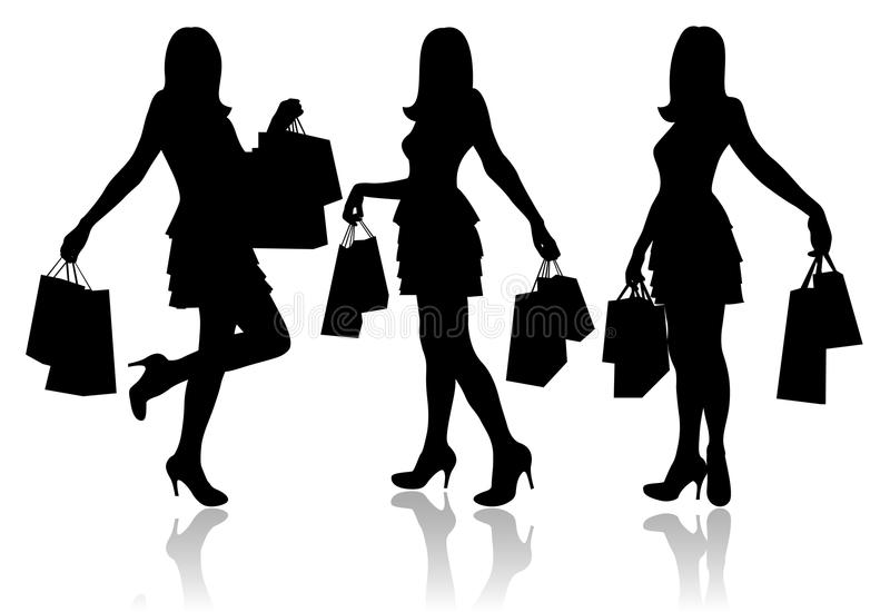 Women with shopping bags royalty free illustration