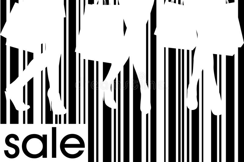 Women with shopping bags on bar code background. Women with shopping bags against a bar code background stock illustration