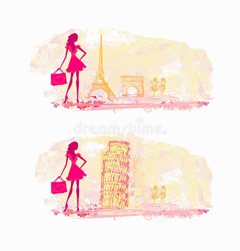 Download Women Shopping In France And Italy Stock Illustration - Illustration of love, ribbon: 31892008
