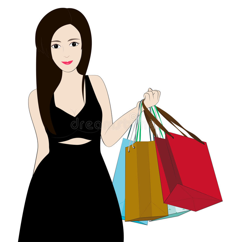 Women shopping. Women hold bag on white background royalty free illustration