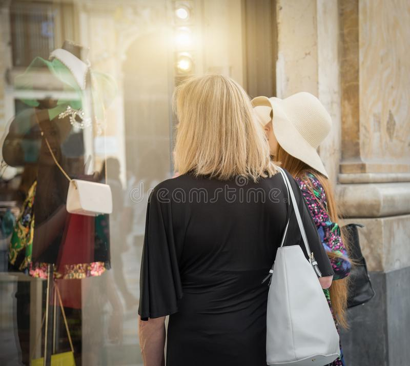 Women shopping in Naples - Italy royalty free stock photography