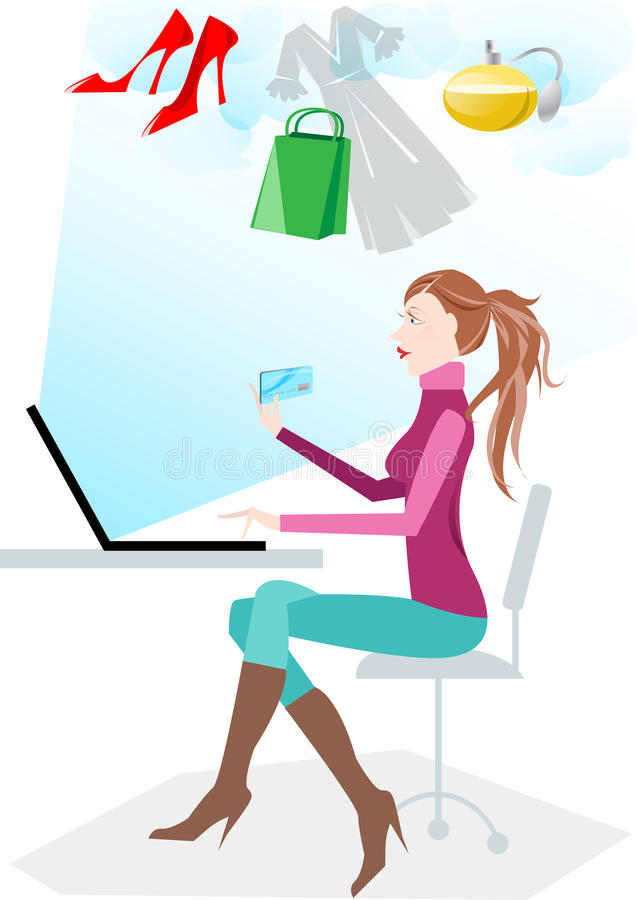 Download Women shopping online stock illustration. Image of accessories - 10470117