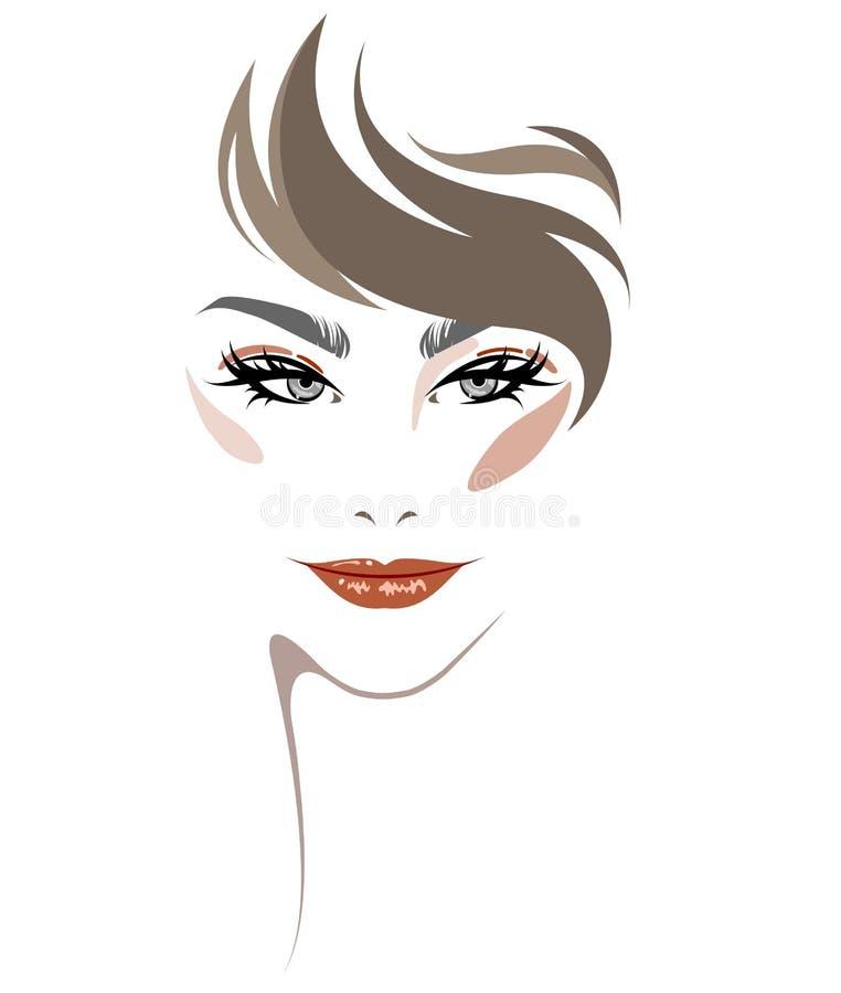Women short hair style icon, women face makeup on white background. Illustration of women hair style icon, logo women face makeup on white background royalty free illustration