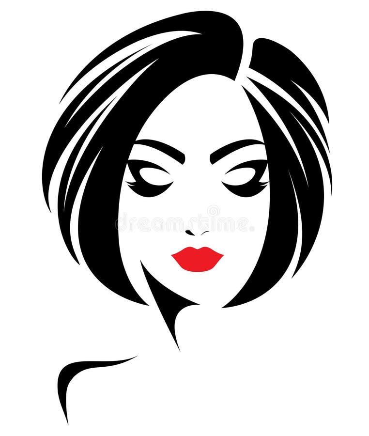 Women short hair style icon, logo women face on white background. Illustration of women short hair style icon, logo women face on white background royalty free illustration