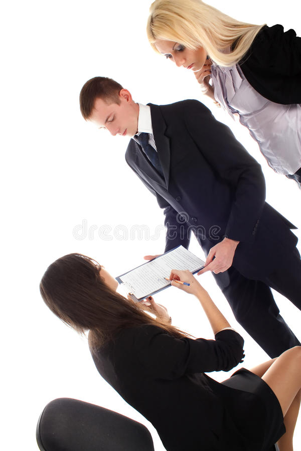Women show in document to bussines men and women stock image