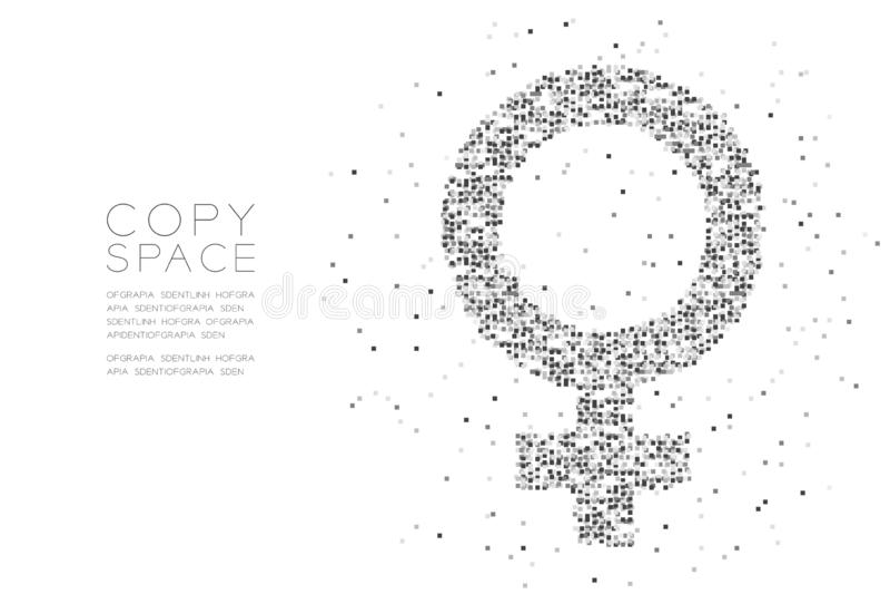 Women sign Particle Geometric Square box pixel pattern, Female gender concept design black color illustration on white background stock illustration