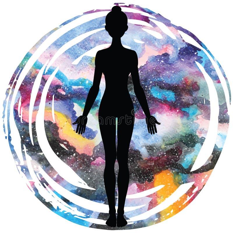 Women silhouette. Yoga mountain pose. Tadasana. stock illustration