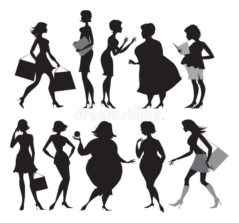 Women silhouettes royalty free illustration