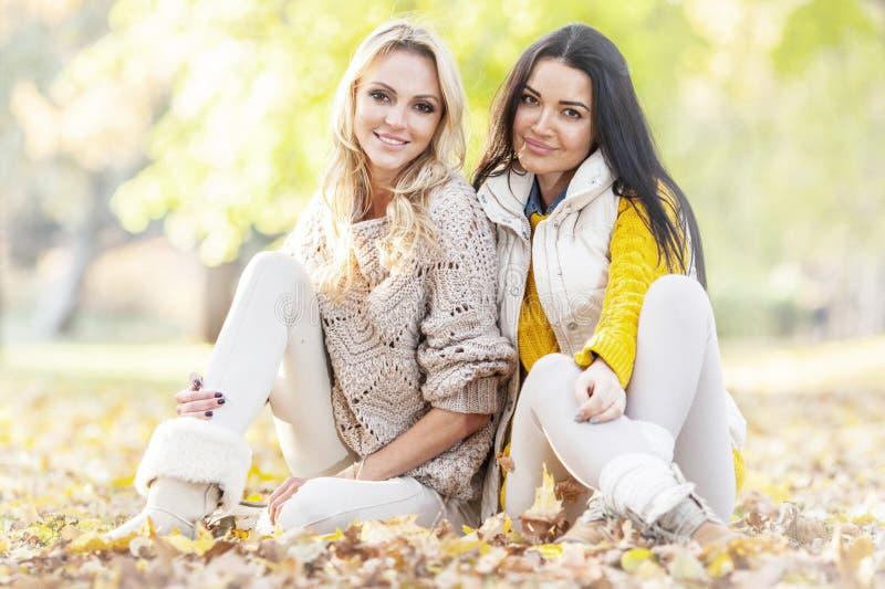 Women sitting in autumn park royalty free stock photos