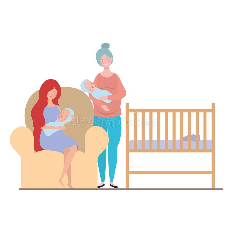 Women sitting on the couch with a newborn baby in her arms stock illustration