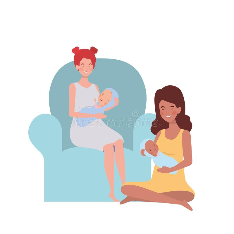 Women sitting on the couch with a newborn baby in her arms royalty free illustration