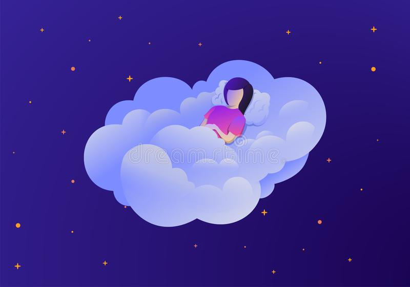Women sleep at night and wake up in the morning. Flat vector illustration of woman royalty free stock photography