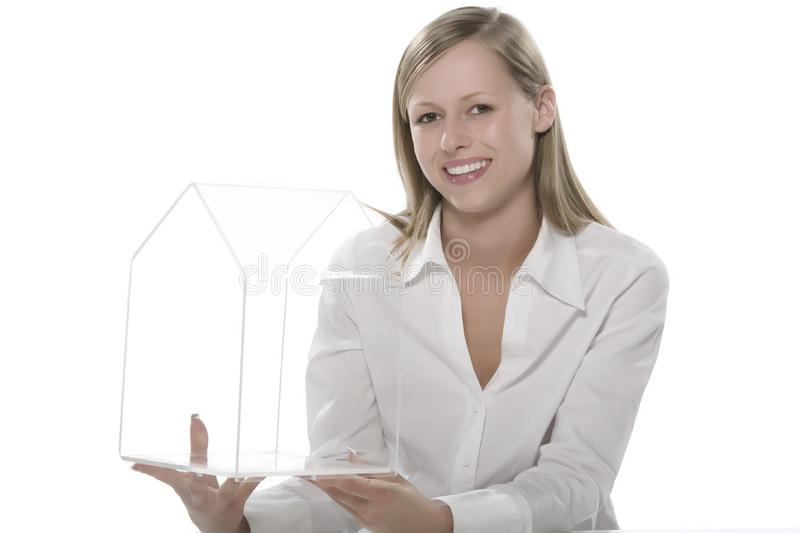 Women with small house transparent hand stock images
