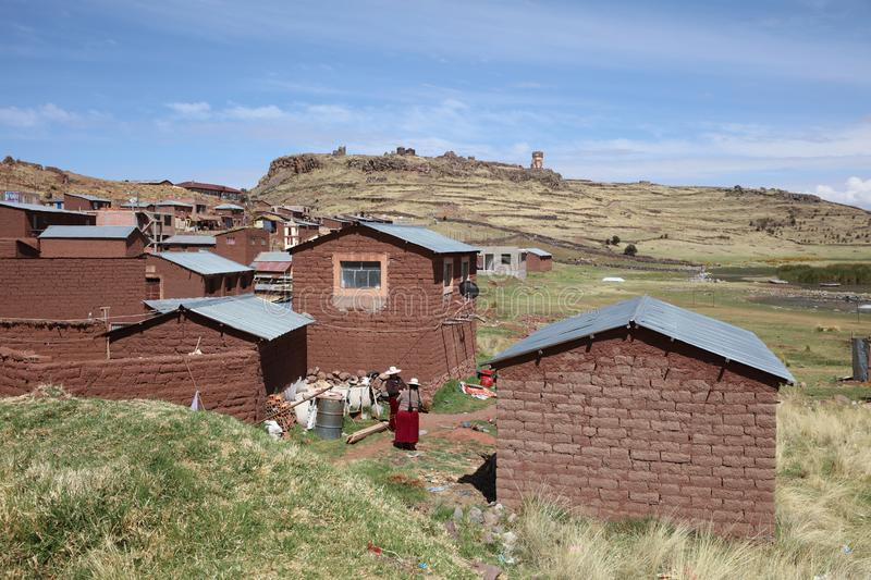 Women at the small Town Sillustani in Puno Region. Its the famous Place of the pre-Incan cemetery. Peru stock images