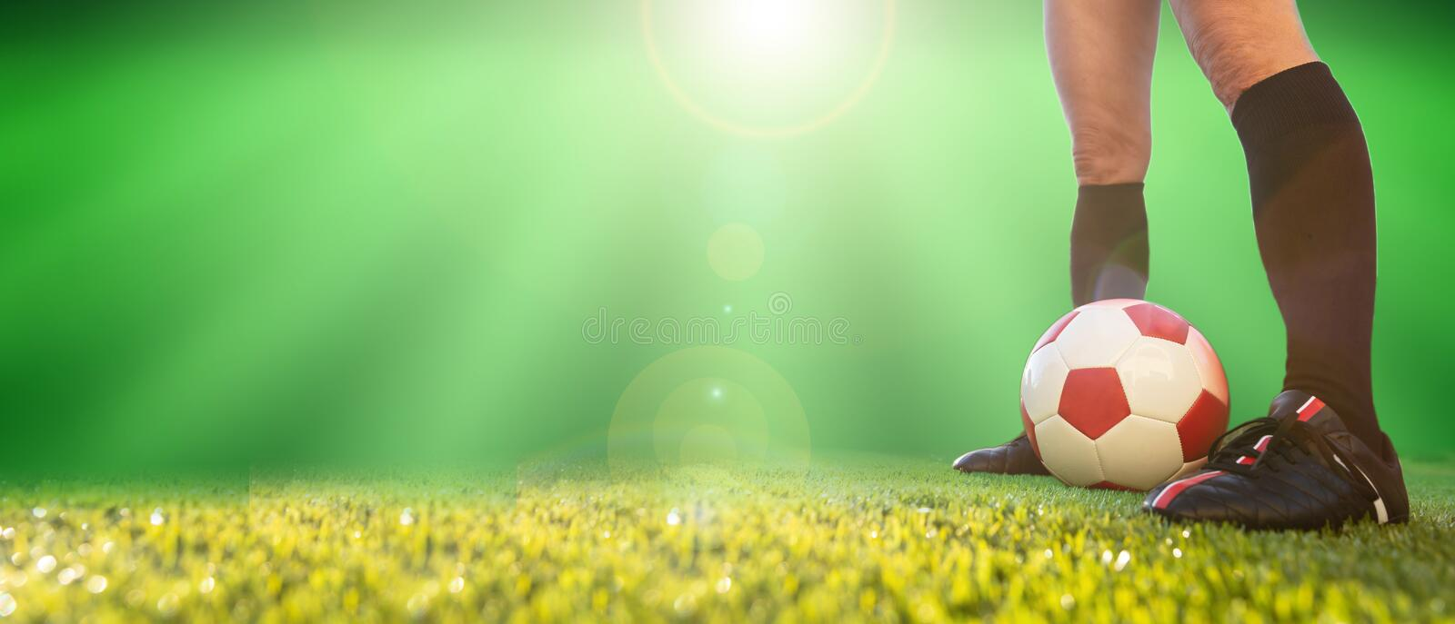 Women soccer, football. Female legs and a soccer ball on the grass, banner. Copy space stock image