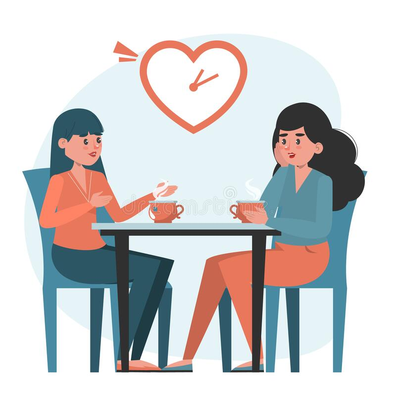 Women on a speed dating vector isolated. Romantic homosexual couple at the table. Short date, gay people checking compatibility vector illustration