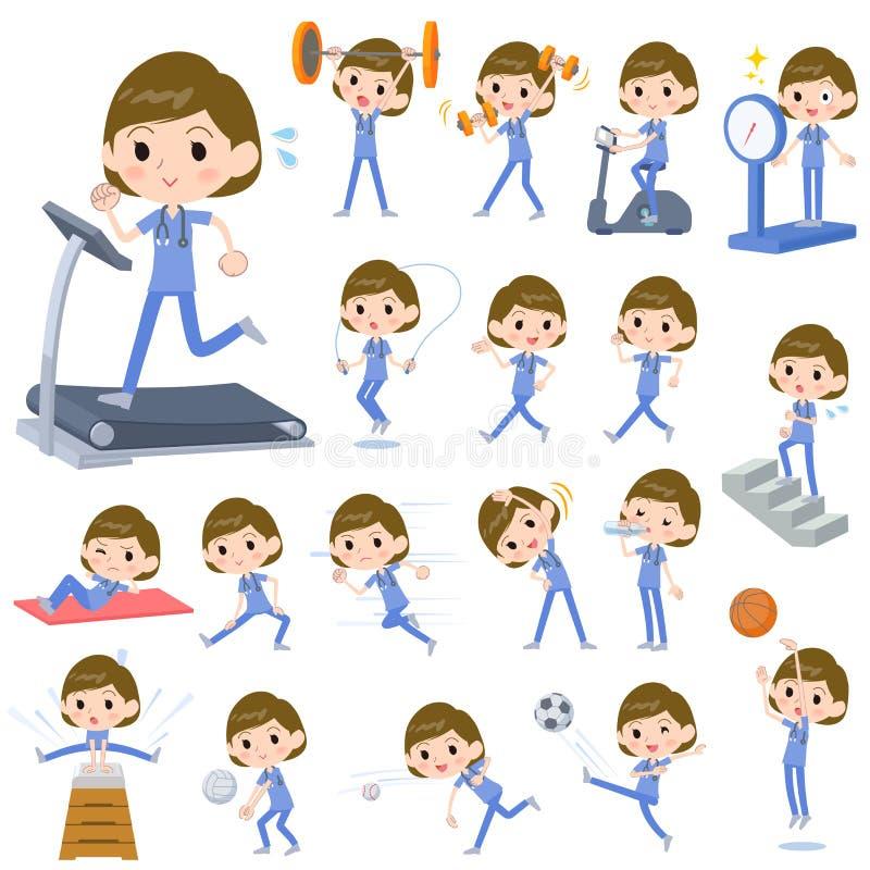 Women_Sports et exercice bleus d'usage d'opération chirurgicale illustration libre de droits