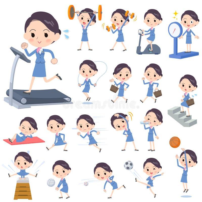 Women_Sports y ejercicio azules del asistente de cabina stock de ilustración