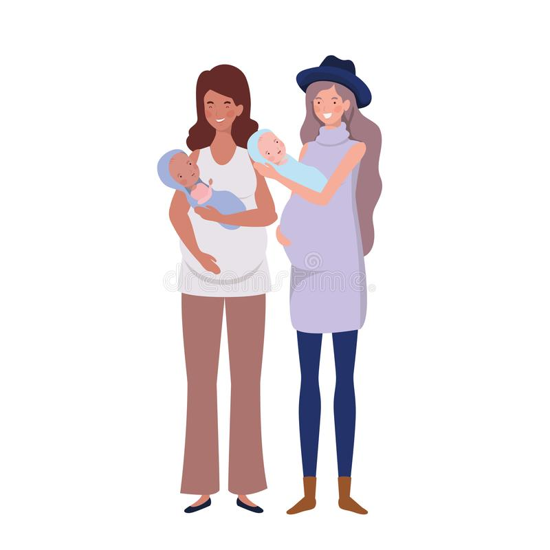 Women standing with a newborn baby in her arms royalty free illustration