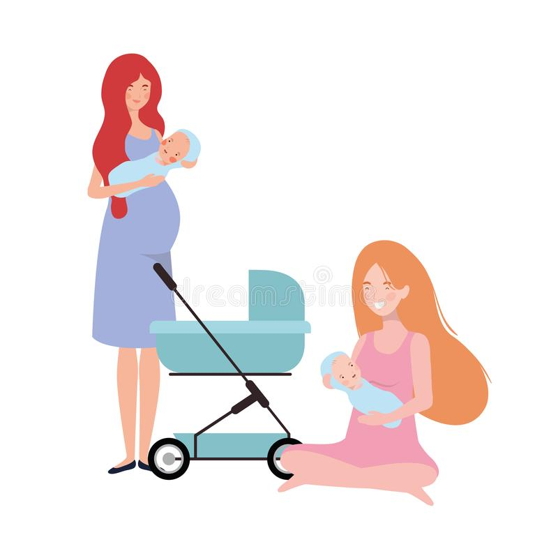 Women standing with a newborn baby in pram vector illustration