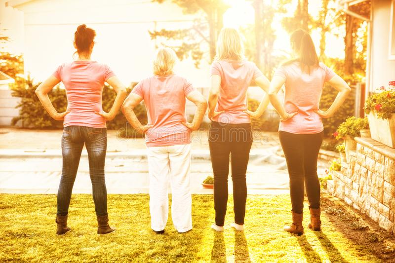 Women standing up to breast cancer stock photography