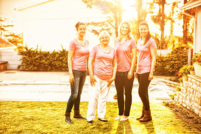 Women standing up to breast cancer royalty free stock images