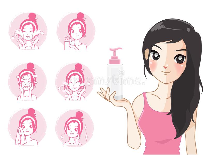 Women and step facial cleansing by beautiful face. Step facial cleansing, facial acne treatment, face healthy and look younger stock illustration